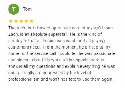 Google Review by Tom