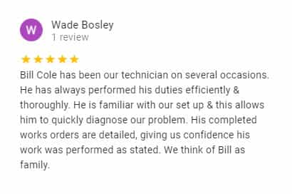 Google Review by Wade Bosley