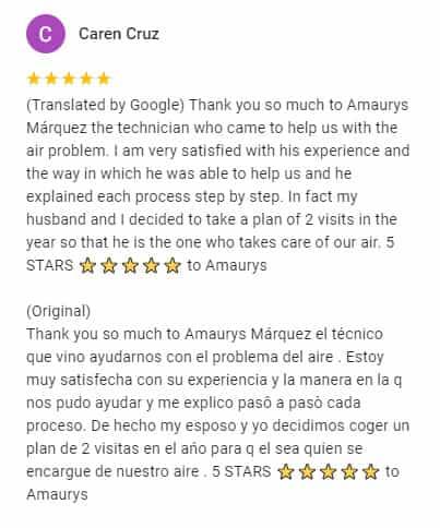 Google Review by Caren Cruz