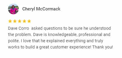 Google Review by Cheryl McCormack